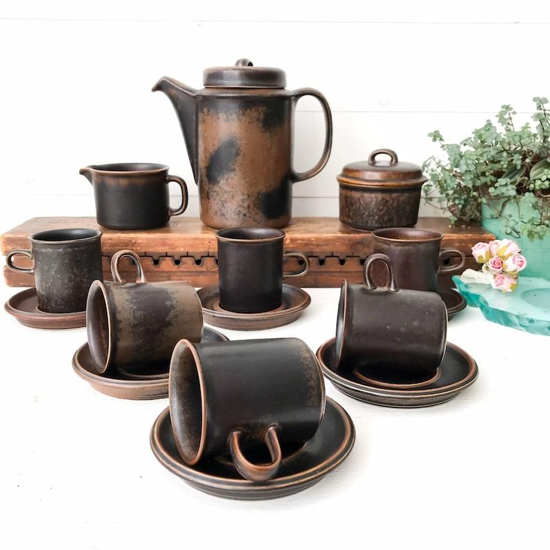 Arabia Ruska Cereal Bowls, vintage Stoneware Serving Bowls, Arabia Finland Soup Bowls, Industrial FarmHouse Dinnerware.