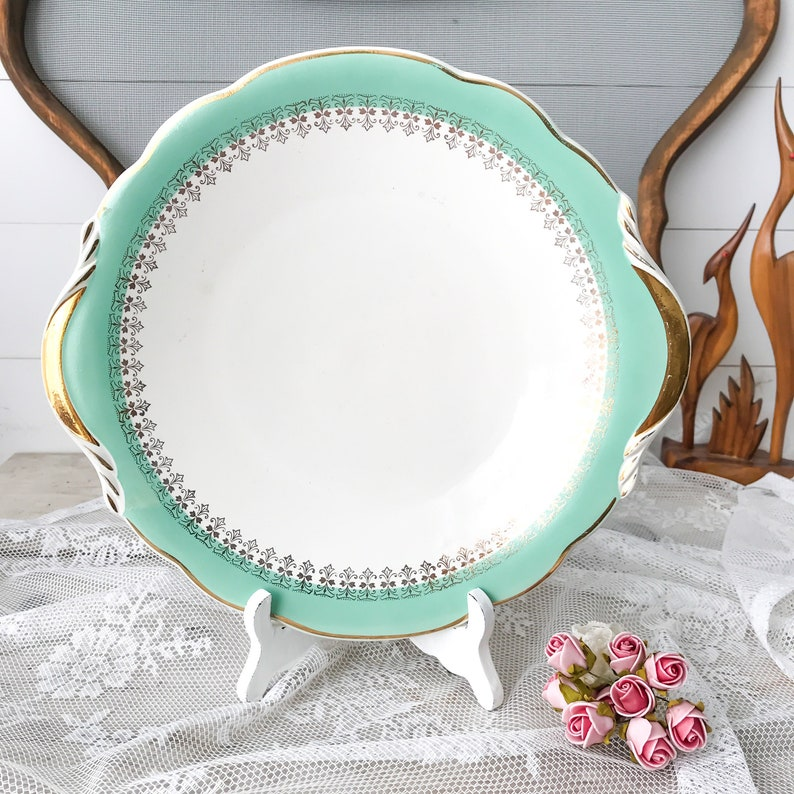 1920 French Country kitchenware Digoin /& Sarreguemines Turquoise Gold Trimmed plate set Vintage French Plate Set