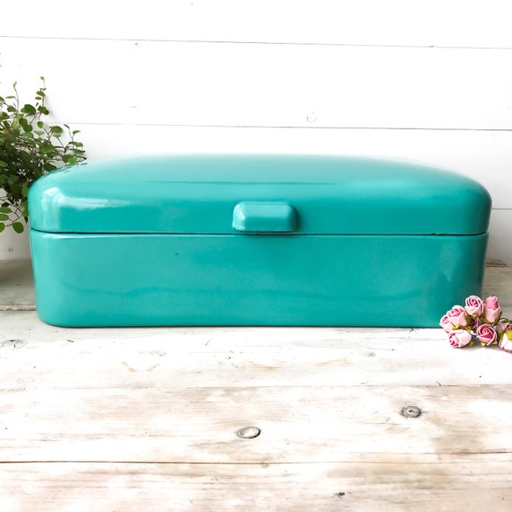 Turquoise Bread Box Fascinating Vintage Turquoise Enamel Bread Box Dutch Bread Bin RARE Etsy