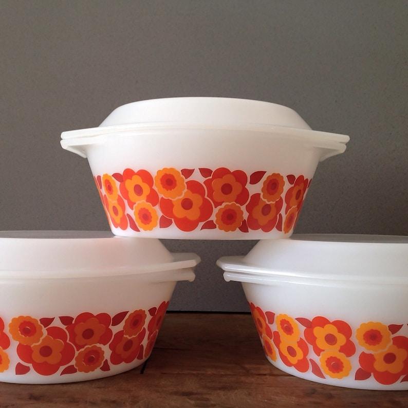 Retro Floral Orange Design 70/'s French Pyrex Kitchenware Arcopal Lotus Casseroles  Oven Dish x 3 With Lids  White Milkglass