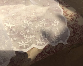 scalloped edges voiles, nets Maria and ribbon tie tops. Scandinavian designed sheer curtain panel with embroidery