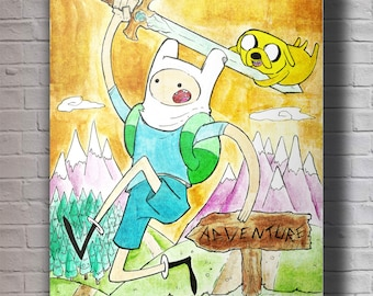 Finn & Jake Adventure Time A4 Original Art Print