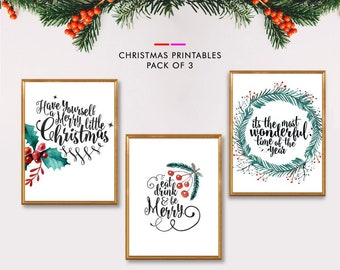 printable christmas decor christmas prints wall art christmas set printables set of 3 prints holiday decor christmas art print art set