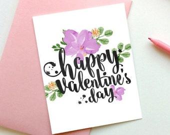 Floral de Saint-Valentin carte, bonne Saint Valentin carte, Saint-Valentin carte imprimable, carte d'amour pour lui, carte de Saint Valentin, téléchargement immédiat, carte
