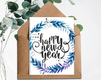 new years printable2018 cardhappy new year cardprintable new years cardinstant downloadnew year 2018happy new yearholiday cards2018
