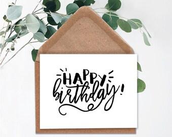 Printable Happy Birthday Card Digital Instant Download