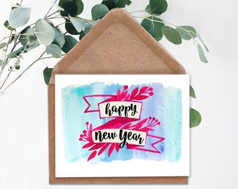 happy new year cardprintable new years cardinstant downloadfloral new year cardhappy new yearhand lettered cardholiday