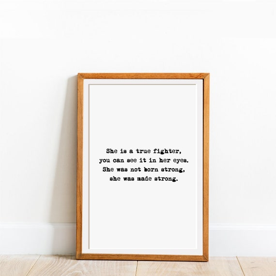 She Is A Fighter, She Quotes, Strong Woman Decor, Strong Woman Quote, Woman  Prints, Quote Prints, Digital Woman Art, Strong Female Print
