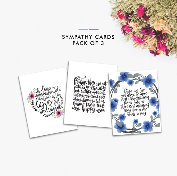 image regarding Printable Condolence Cards named Printable Sympathy Playing cards, Pack of Sympathy Playing cards, Fixed of 3 Playing cards, Condolence Playing cards, Greeting Card Preset, Greeting Card Pack, Dying Anniversary