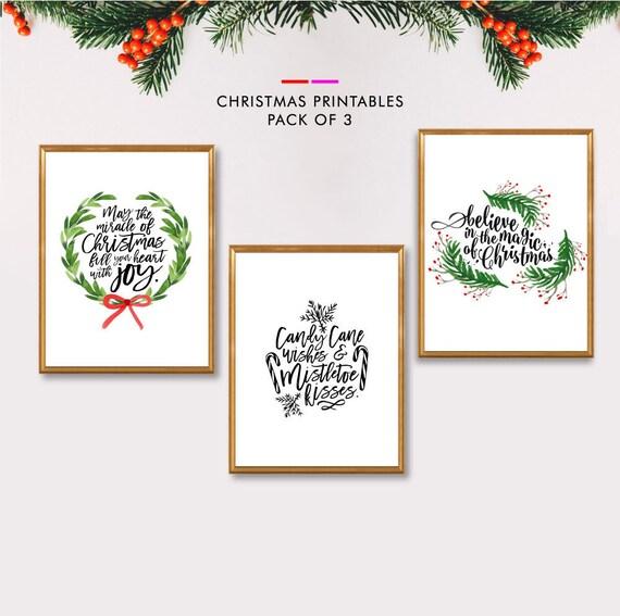 photo regarding Printable Christmas Decorations named Xmas Wall Artwork, Xmas Established Printables, Preset of 3 Prints, Printable Xmas Decor, Trip Decor, Xmas Artwork Print, Artwork Fixed of 3