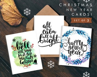 Printable Christmas Card Set,Instant Download,The bell still rings,Happy New Year,all is calm,bright,Holiday cards,Christmas Card Pack,3 set
