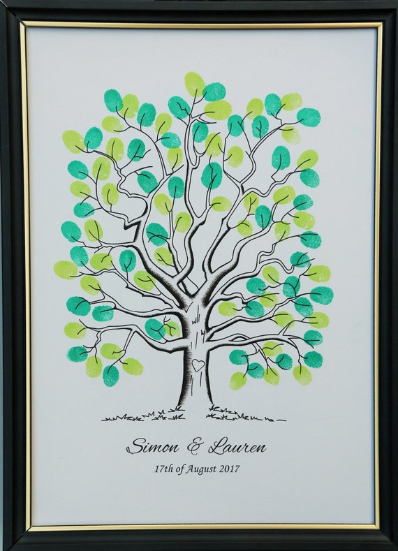 Guest Book Personalised A4 INK BOY//GIRL Finger Print Tree