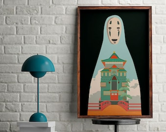 Studio Ghibli poster, Spirited away print, alternative film poster, No face draw