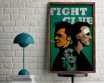 Fight club film poster, movie art for home decor