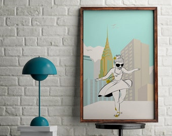 New York print with a happy woman dancing, New York poster for wall decor, digital print of Chrysler building and a girl