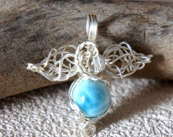 Handmade Pendant top, Larimer, Crystal, Wire. Everyday use. Fairy. For gift.