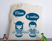 Yum the canteen! (tote bag cotton organic retro illustration vintage blue girl boy vudo workshopvudo screenprinting)