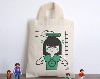 Mini-Sac child (bag cotton girl - ground illustration green retro vintage vudo ateliervudo version)