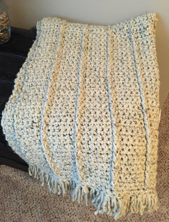 Grueso de lana mezcla Crochet gruesa manta afgana tiro con | Etsy