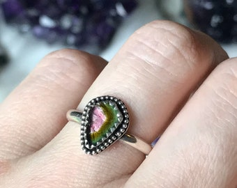 Ready to Ship- Watermelon Tourmaline Ring- Size 6.75, sterling silver, solitaire setting, minimalist jewelry