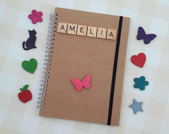 Spiral-bound Kraft A5 Notebook, Personalised Gift, Wooden Scrabble Tiles