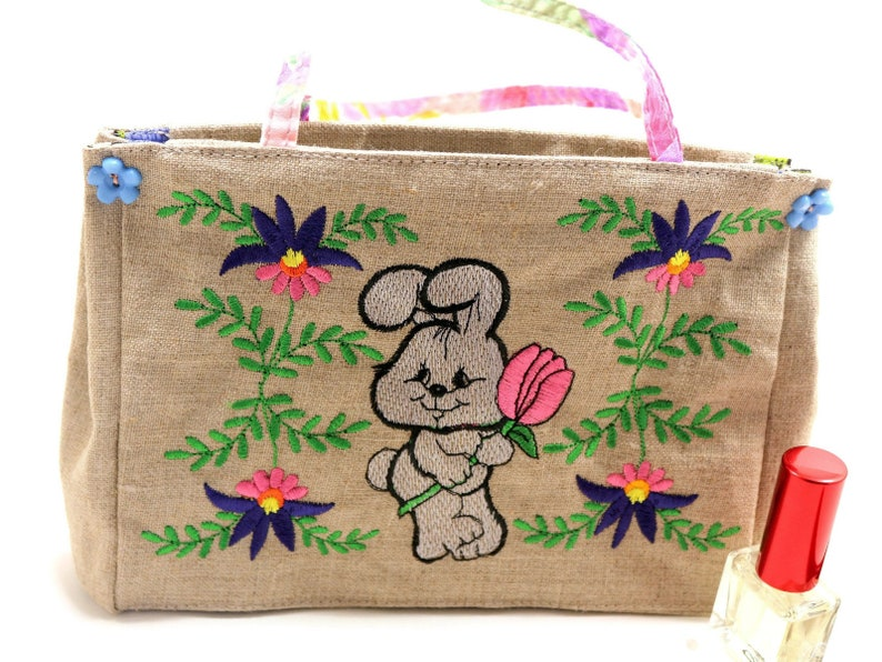 Toddler Little Girl Purse With Machine Embroidery Flowers Hare Rabbit Small Travel Tote Bag Preschool 3rd 7th Anniversary Gift For Niece