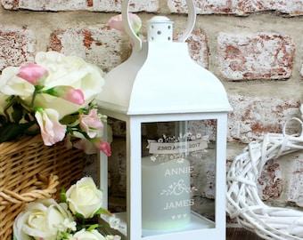 Personalised wedding lantern -white
