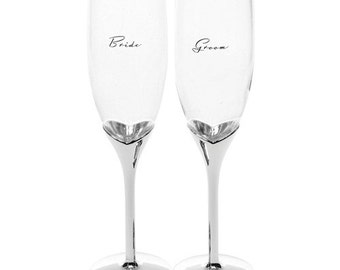 Silver Bride and Groom Champagne Glass Flutes