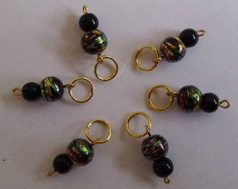 Rasta Colored Bead Stitch Markers - Set of 6