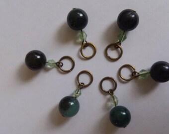 Green stone stitch markers