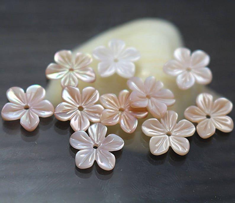 8mm 10mm 12mm 15mm 6mm Pink Shell 100 pcs Natural MOP Shell Flower Beads