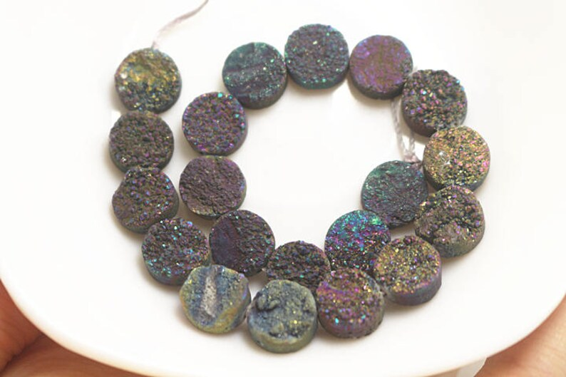 Mixcolor Round Drilled Druzy Beads 10mm 12mm 14mm 1 Strand of Druzy Beads Druzy Agate Beads