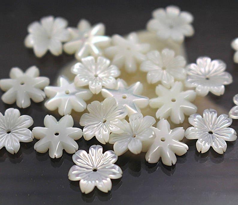 12mm shell beads 100 pcs White Shell Natural MOP Shell Flower Beads 8mm 10mm