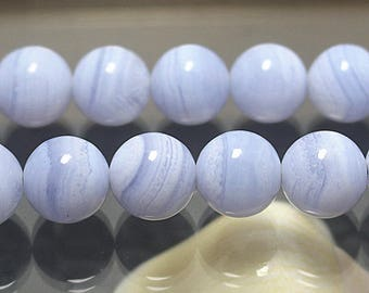 4-12mm Blue Lace Agate Beads, Agate Smooth Round Beads, 15 Inch Full Strand ( 4mm 6mm 8mm 10mm 12mm )