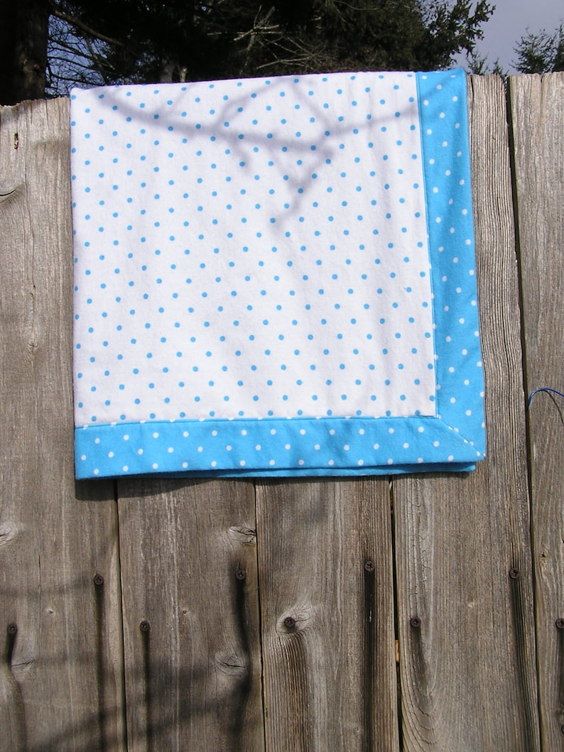 Cotton Flannel Baby Blanket White and Blue Polka Dot Flannel Baby Blanket FREE SHIPPING Baby Receiving Blanket Soft Flannel Baby Blanket