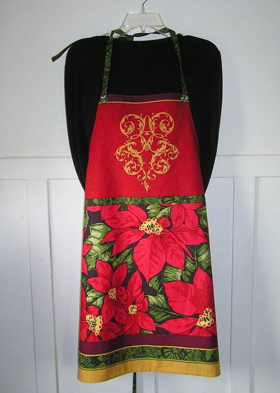Apron Christmas Poinsettia New