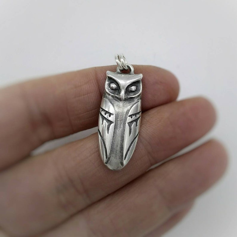Owl Necklace  Sterling Silver Owl Pendant  Horned Owl  Gift for Night Owl  Moon and stars on the back side  Double sided  Moonchild