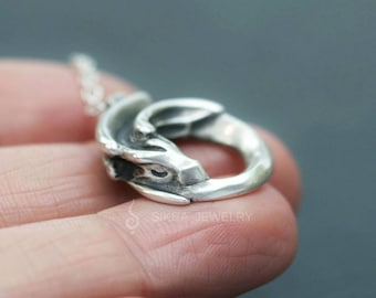 Sleeping Dragon Sterling Silver Pendant Necklace / Curled up Dragon / Adopt a little Dragon