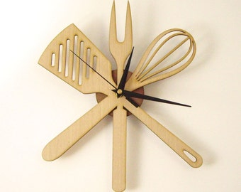 "Wooden wall clock - "" KITCHENWARE """