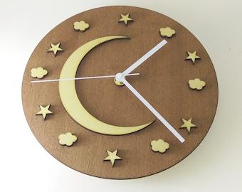 "Wooden wall clock  - ""NIGHT SKY"""