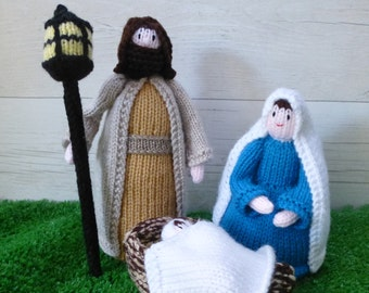 Knitted nativity scene - includes Mary, Joseph, Baby Jesus and manger.