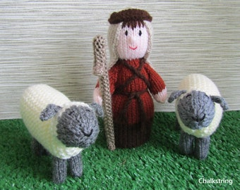 Hand knitted  nativity set. Shepherd with two sheep. Christmas decoration. Knitted shepherd.  Knitted sheep