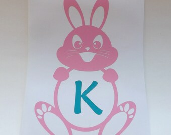 Easter Bunny decal-yeti cup-window-laptop-personalized Easter Decal-Easter Basket Decal-Vinyl Stickers-Personalized Vinyl Decal
