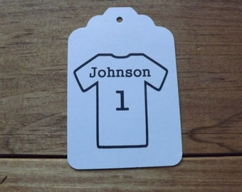 Sports t shirt personalized sports tag add your name or team name and numbers 20 tags per set