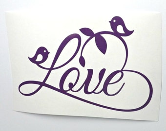 Valentines Day Love Birds Decal- Love Heart decal- window decal-laptop-mug decal-Yeti decal-car decal-Love Birds Decal-votive candle holder
