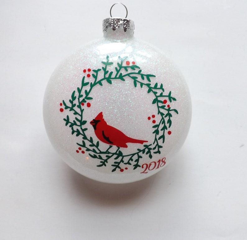 8e0fe8981 Cardinal on a Wreath glass glitter Ornament-Christmas Ornament-Holiday  Gifts-Glass Ornaments-Cardinal Ornament-Personalized Ornaments-gifts