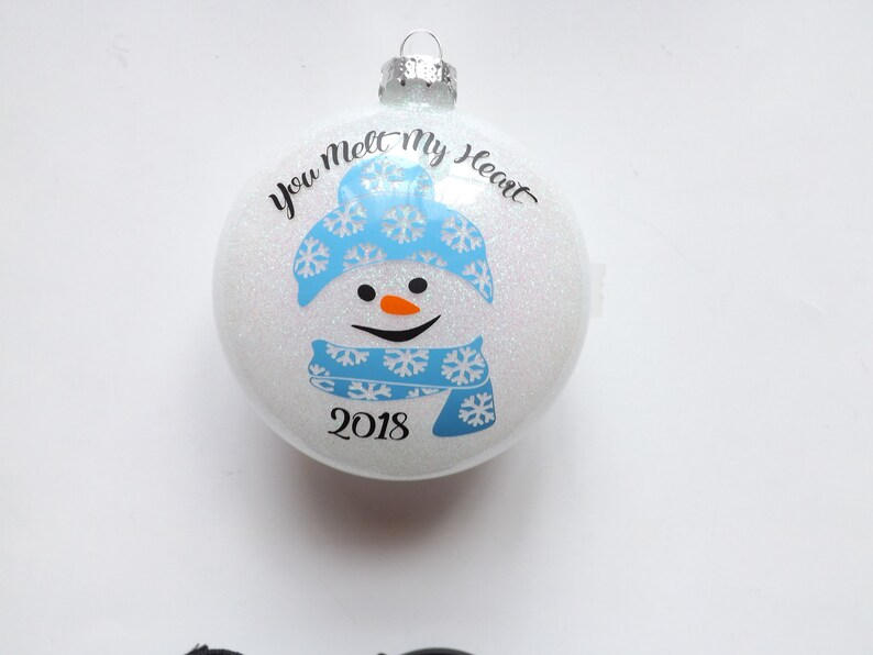 Snowman glass glittered ornament-Christmas gift-Holiday gift-Personalized ornament-personalized gifts-gifts-neighbor gift-teacher gift