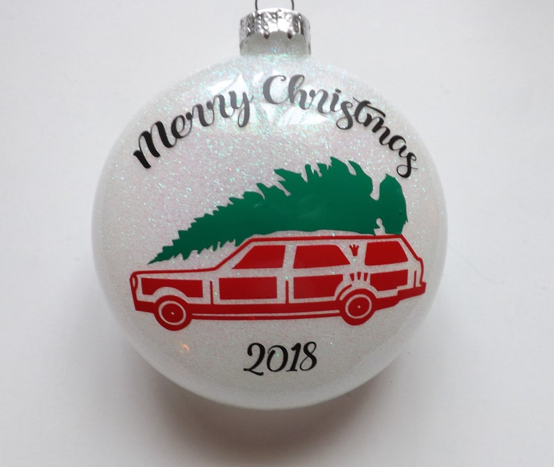 fe3be0f9f Merry Christmas Car and Christmas tree glass glittered  ornament-personalized ornament-Christmas Ornament-Holiday Ornament-Holiday  Gifts