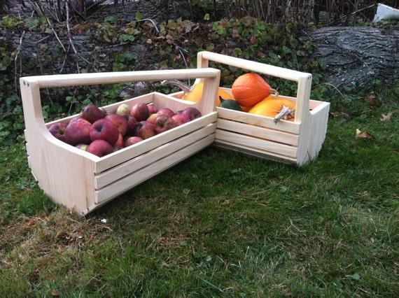Handcrafted Garden Harvest basket Garden Hod wooden basket Market Basket multi use basket