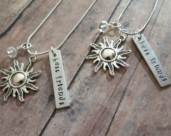 Sun Friendship Necklace For 2 Hand Stamped Can Be Personalized With Friends Initials Gift For Best Friend